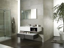 Mobilier de salle de bains mod le wind roble cacao krion for Meuble salle de bain porcelanosa